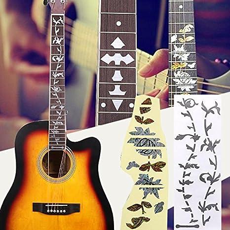 Forfar Pegatinas de guitarra Diapasón de teclado decorativo Etiqueta de marca del diapasón incrustaciones de mosaico calcomanías Accesorios de decoración Guitarra embutido etiquetas: Amazon.es: Instrumentos musicales