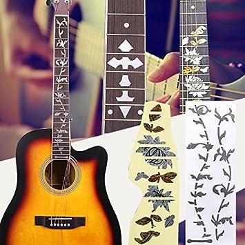 Forfar Pegatinas de guitarra Diapasón de teclado decorativo Etiqueta de marca del diapasón incrustaciones de mosaico calcomanías Accesorios de decoración ...