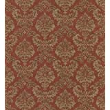 Brewster 982-75327 Textured Weaves Damask Wallpaper, 20.5-Inch by 396-Inch, Red
