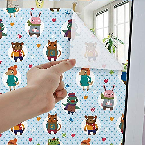 YOLIYANA Static Cling Decorative Window Film,Nursery,Suitable for Kitchen,  Bedroom, Living Room,Collection of Animals with Winter Clothing Hats