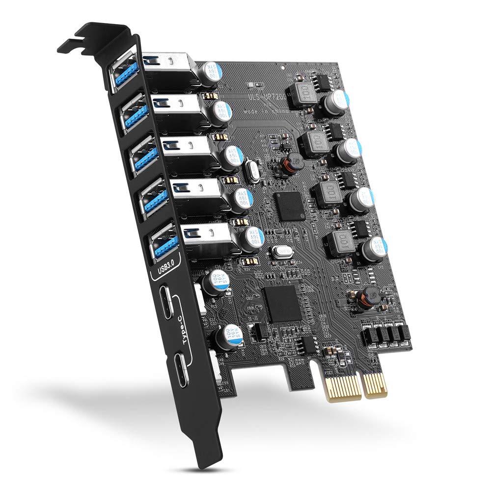 PCI-E a USB 3.0 7-Port(2X USB-C - 5X USB-A) Expansion Card P