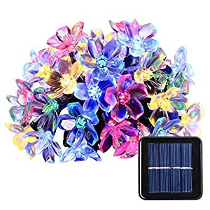 Solar String Lights, 21ft 50 LED Fairy Blossom Flower Garden Lights for Outdoor, Home, Lawn, Wedding, Patio, Party and Holiday Decorations 1 Pack (Multi-Color)