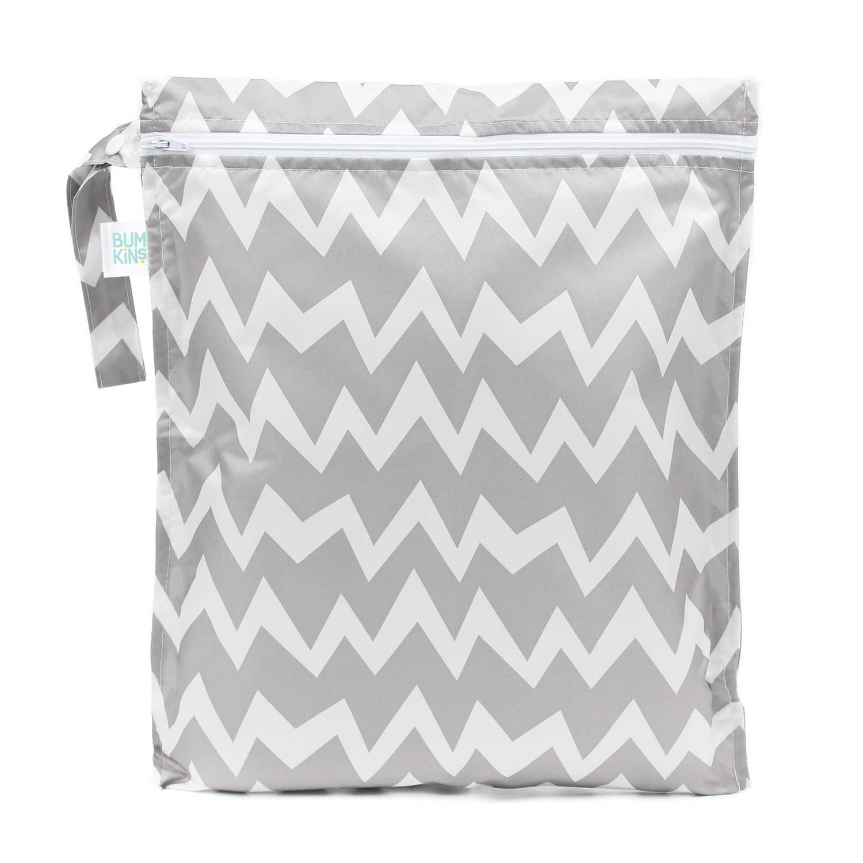 Bumkins Reusable Waterproof Wet Bag with Zipper, Gray Chevron