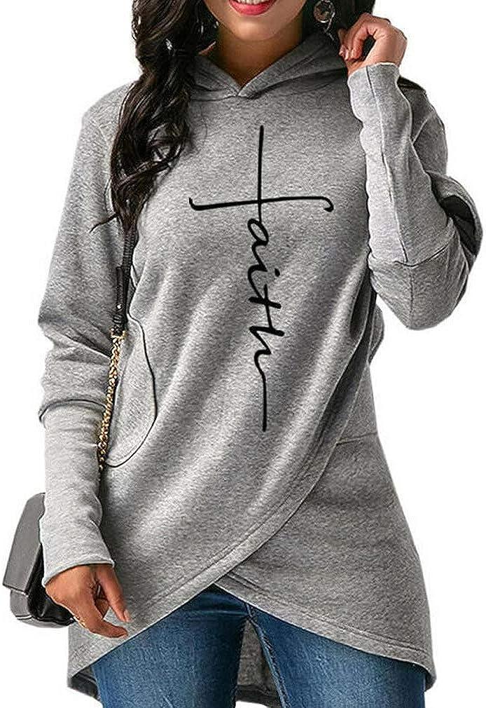 MyoLo Women Ladies Hoodie Sweatshirt Faith Print Long Sleeve Pullover Jumper Tops