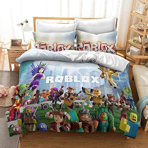 Ro-blox Quilt Cover 2 Piece Game Cartoon Bedding Set Soft and Breathable Kids Comforter Cover with 1 Pillow Sham FRECASA 2-Piece Bedding Set