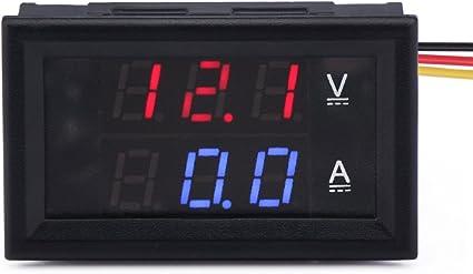 Droking DC 30V 50A Voltmetro Amperometro Digitale Corrente 2 in 1 Blu Rosso LED Doppio Display