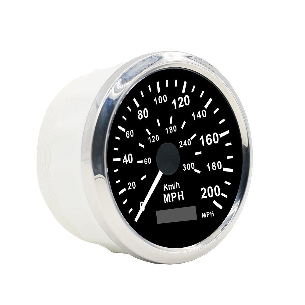 MRCARTOOL GPS tachimetro impermeabile in acciaio 0-200KMH 0-300 MPH per auto moto camion furgoni 85mm 12 v / 24 v pannello strumenti automobilistici tachimetro calibri