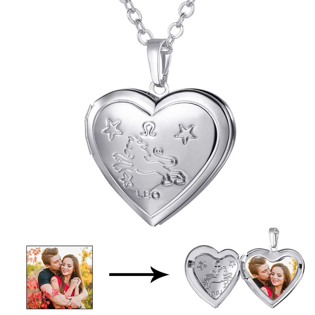 U7 Heart Shaped Photo Locket Pendant Necklace Platinum Plated Horoscope Zodiac Sign Leo Jewelry, Unisex Style