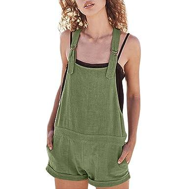 572bbf05855 Amphia Damen Overall Kurz Elastische Taille Latzhosen Leinen Baumwolle  Taschen Strampler Playsuit Shorts Hosen (Grün