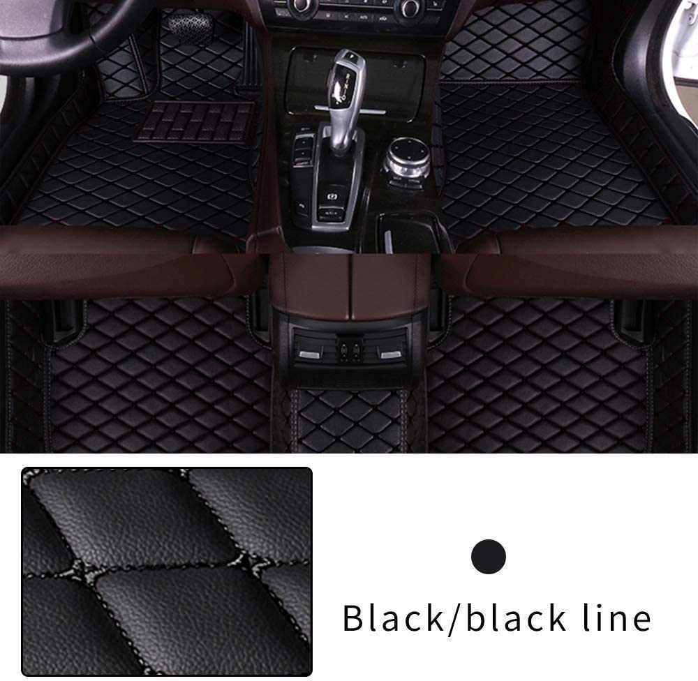 Muchkey Car Floor Mat for BMW X1 2016-2018 Full Coverage Interior Protection Leather Mat Black