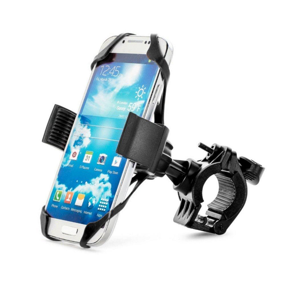 Dailyinshop Supporto del supporto del telefono mobile del supporto del manubrio della bicicletta con la banda di sostegno del silicone (colore: nero)