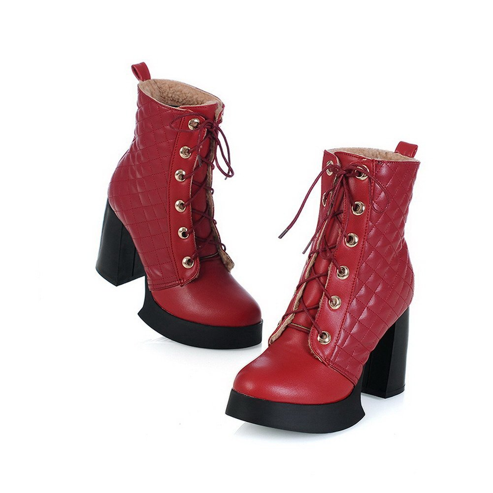 Red 35 VogueZone009 Womens Closed Round Toe High Heel Platform Wedge PU Short Plush Assorted Colors Boots