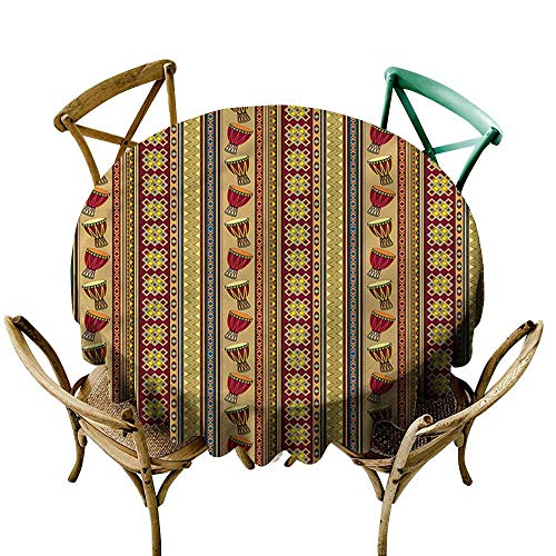Luunins Round Tablecloth Fitted African,Djembe Drums Geometric D60,for Wedding Reception Nave - Djembe Package