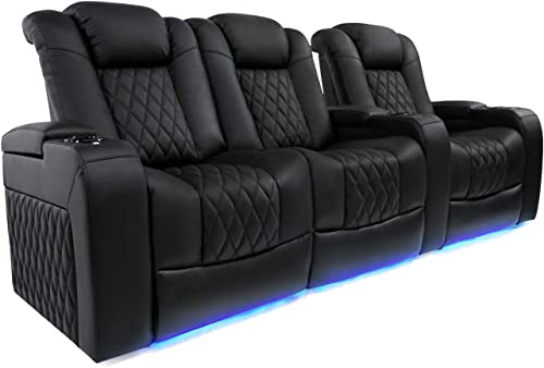 Valencia Tuscany Home Theater Seating Top Grain Nappa Leather, Power Reclining, Power Lumbar Support, Power Headrest Row of 3 Loveseat Left, Black