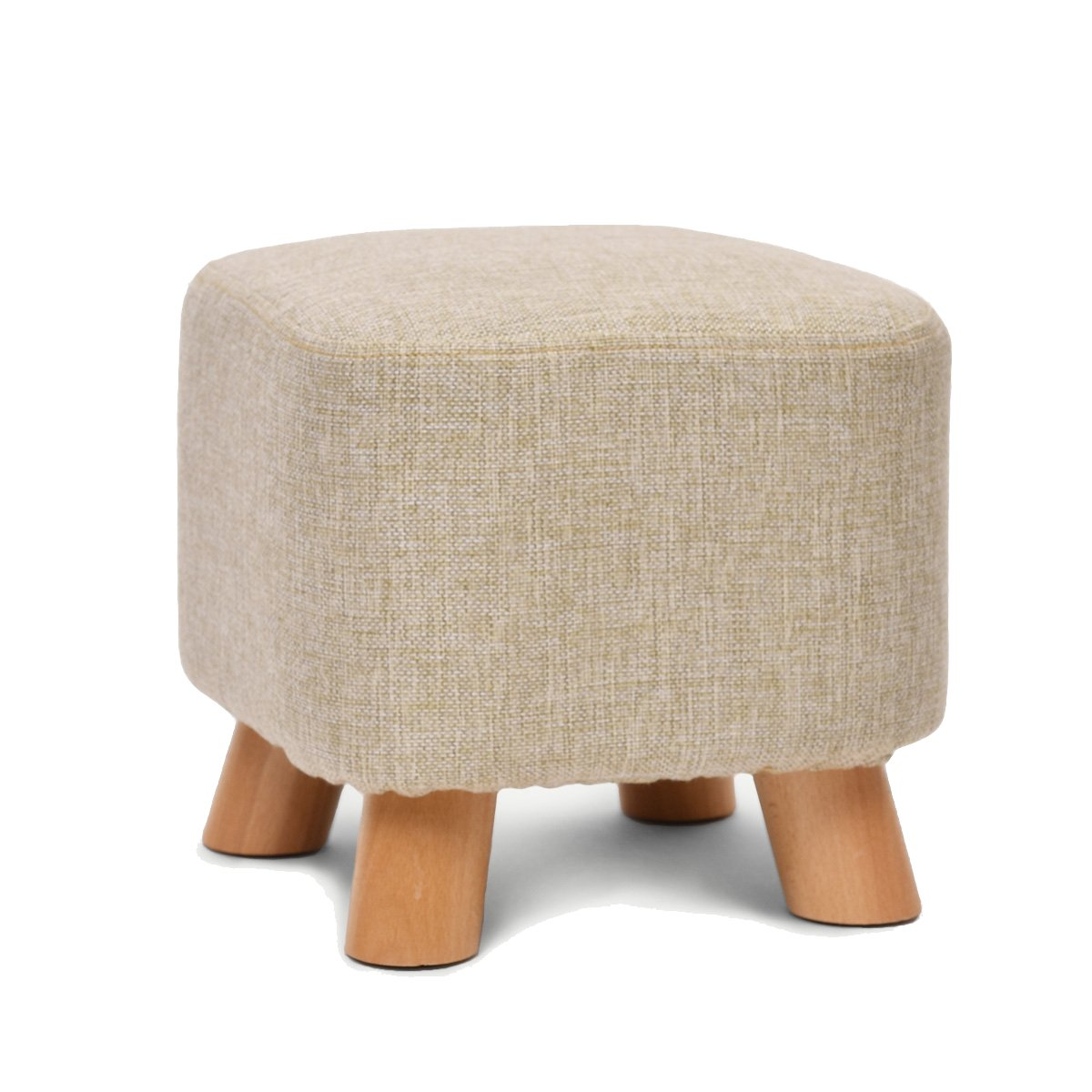 UUSSHOP Square Wooden Wood Support Upholstered Footstool Footrest Ottoman Pouffe Chair Stool Fabric Cover 4 Legs and Removable Linen Cover (Beige)