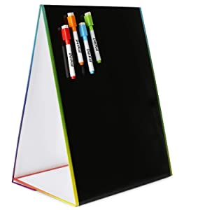 "Tabletop Magnetic Easel & Blackboard with Chalkboard Design (2 Sides) 16 X 12.5"" Includes: 4 Chalk Markers Drawing Art Black Board Educational Kids Toy"