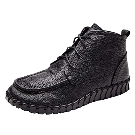 LuckyGirls Mujer Botas Cuero Botitas Moda Botas de Nieve Calzado Zapatillas Zapatos Planos con Cordones