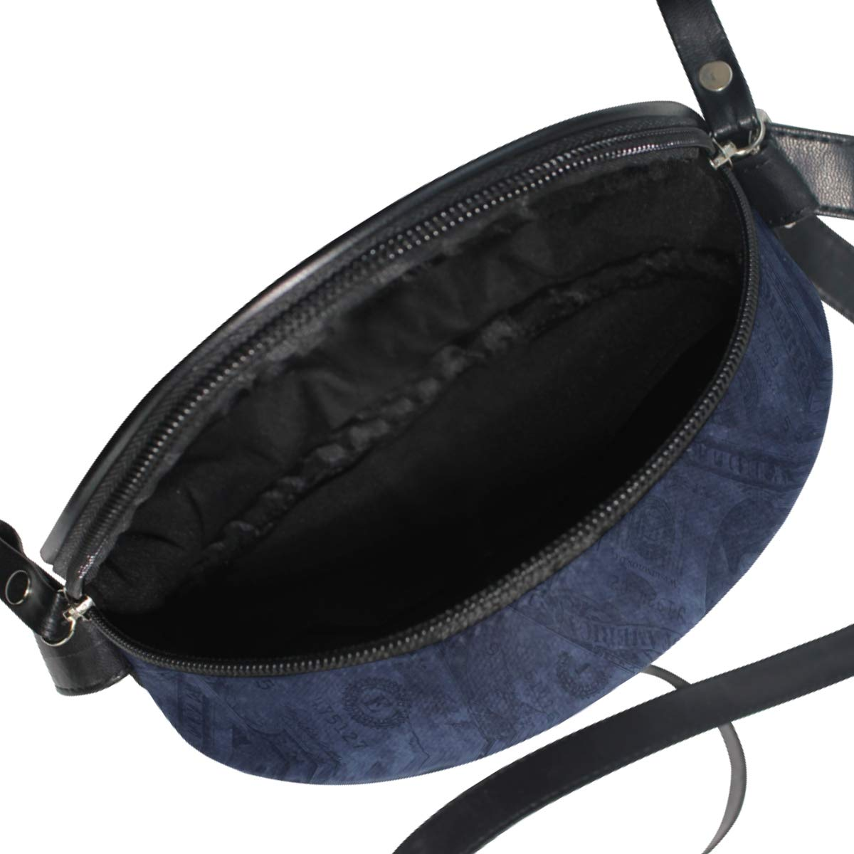 Retro Style US Dollars Small Round Canvas Crossbody Messenger Bags for Women