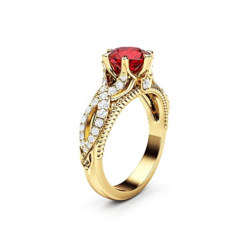 Amazon.com Ruby Engagement Ring Vintage Engagement Ring 14K