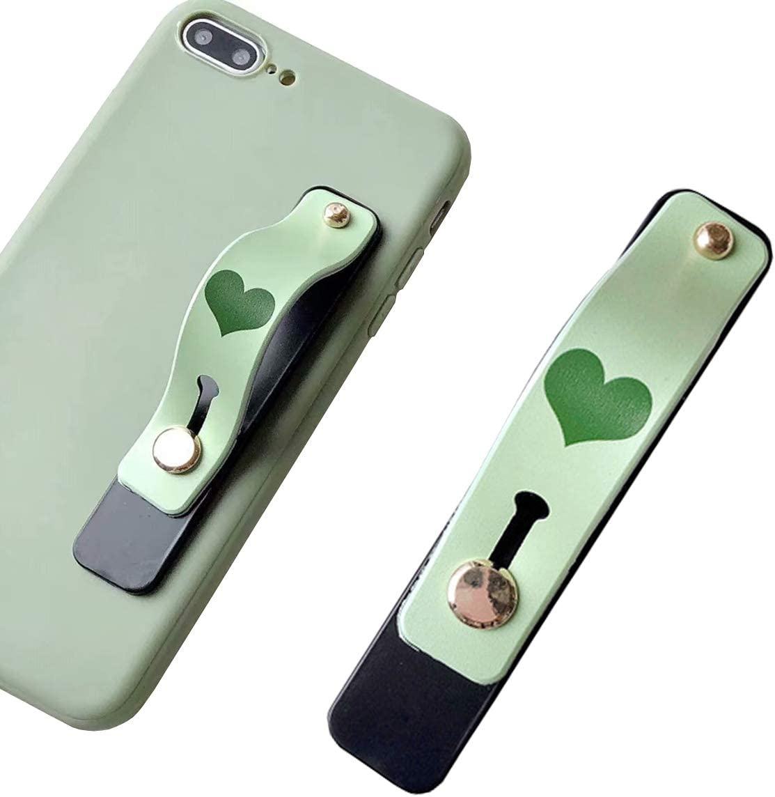 Phone Holder with PU Leather Phone Stand Green Cell Phone Grip Stand FourPlusOne Secure Phone Finger Strap Bracket for iPhone and Android