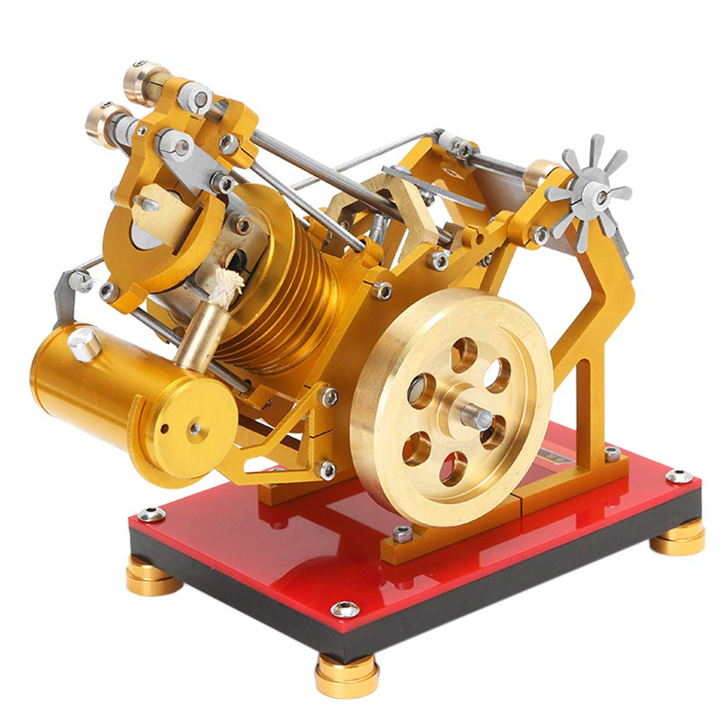 B Blesiya 300-2000RPM Flame Licker Eater Single Cylinder Stirling Engine Model Hot Air Steam Power Motor Generator Lab Experiments Kits Science Toy