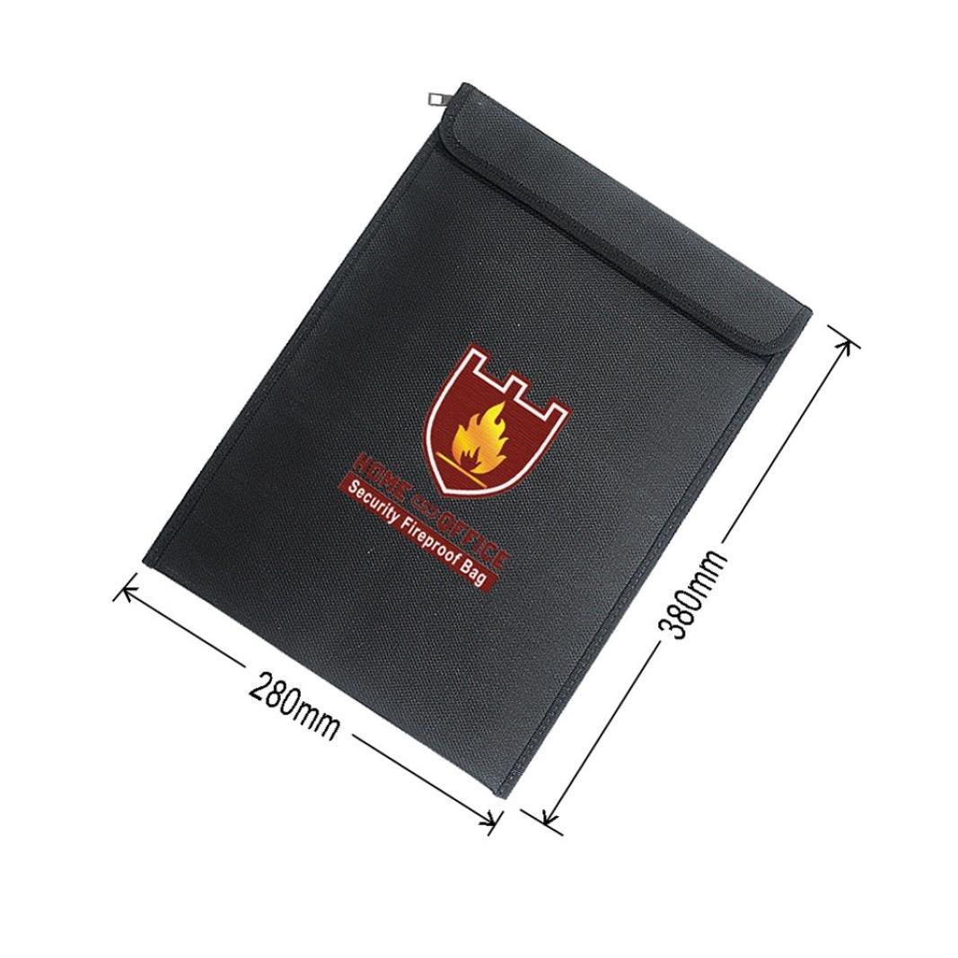 Fireproof Waterproof Bag, Unpara Convenient Document Fire Resistant Pouch Document for Money Safe for Storing Important Documents, Files, Passbooks, Photos, Books, Batteries (380 X 280 X 60mm)