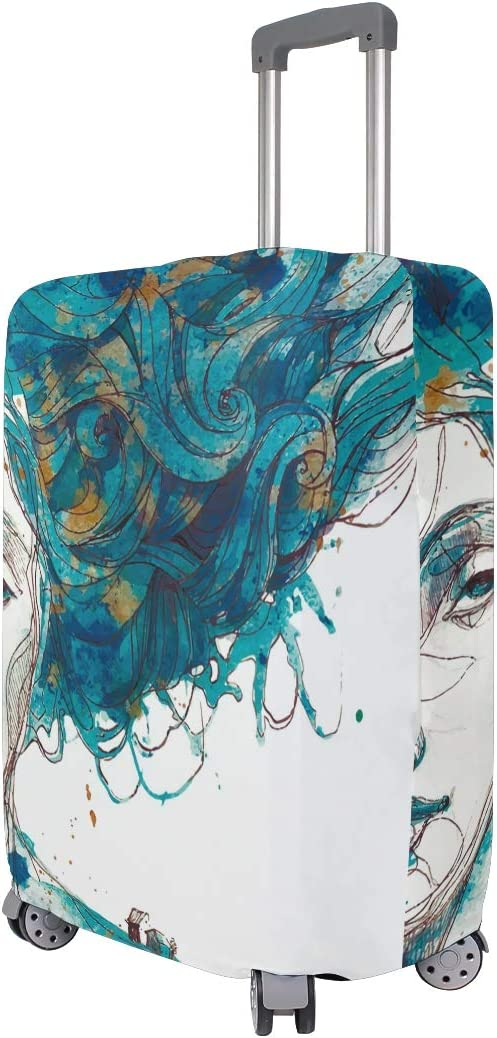 FOLPPLY Watercolor Abstract Girl Luggage Cover Baggage Suitcase Travel Protector Fit for 18-32 Inch
