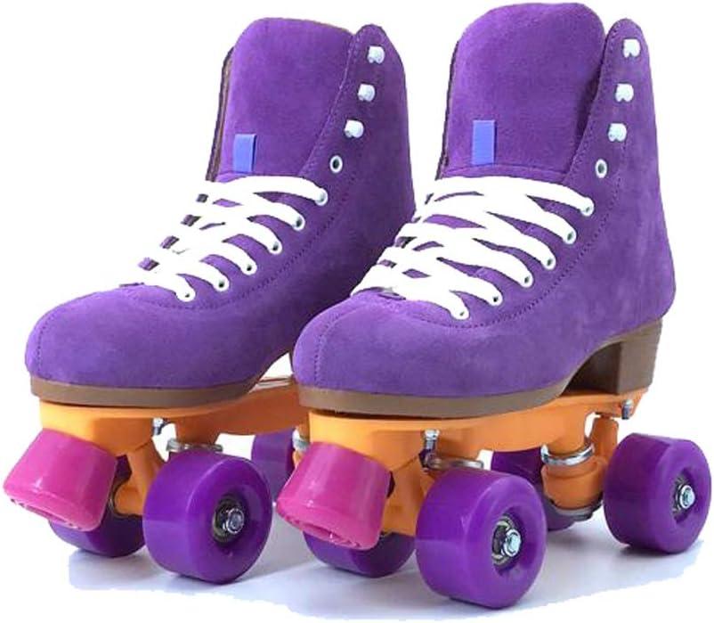 Ailj 大人の複列スケート、 古典的なハイトップ四輪ローラースケート レトロファッション子供の初心者ローラースケート 紫の (色 : 紫の, サイズ さいず : 33) 紫の