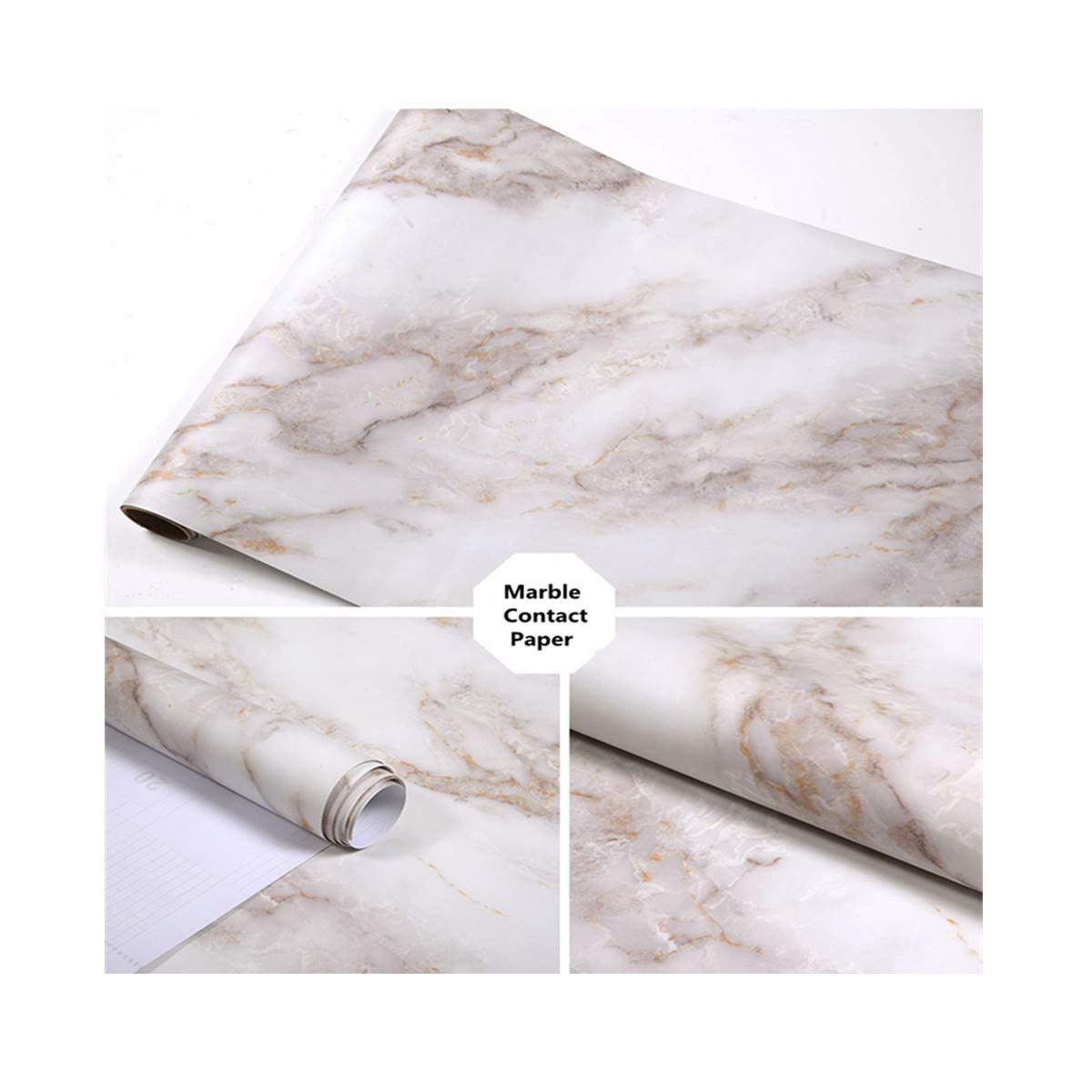 17.71'' x 120'' Marble Contact Paper Film Peel and Stick Countertops Vinyl Wallpaper Sticker Thick Waterproof Self Adhesive Removable Authentic White Granite Look Contact Paper Decorative Shelf Liners