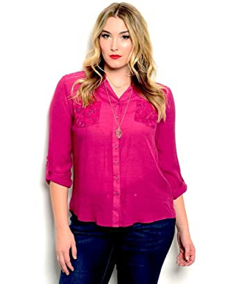 1612467e2c3 MINE TOO Women s Button Down Shirt Plus Size Solid Magenta Lace Trim ...