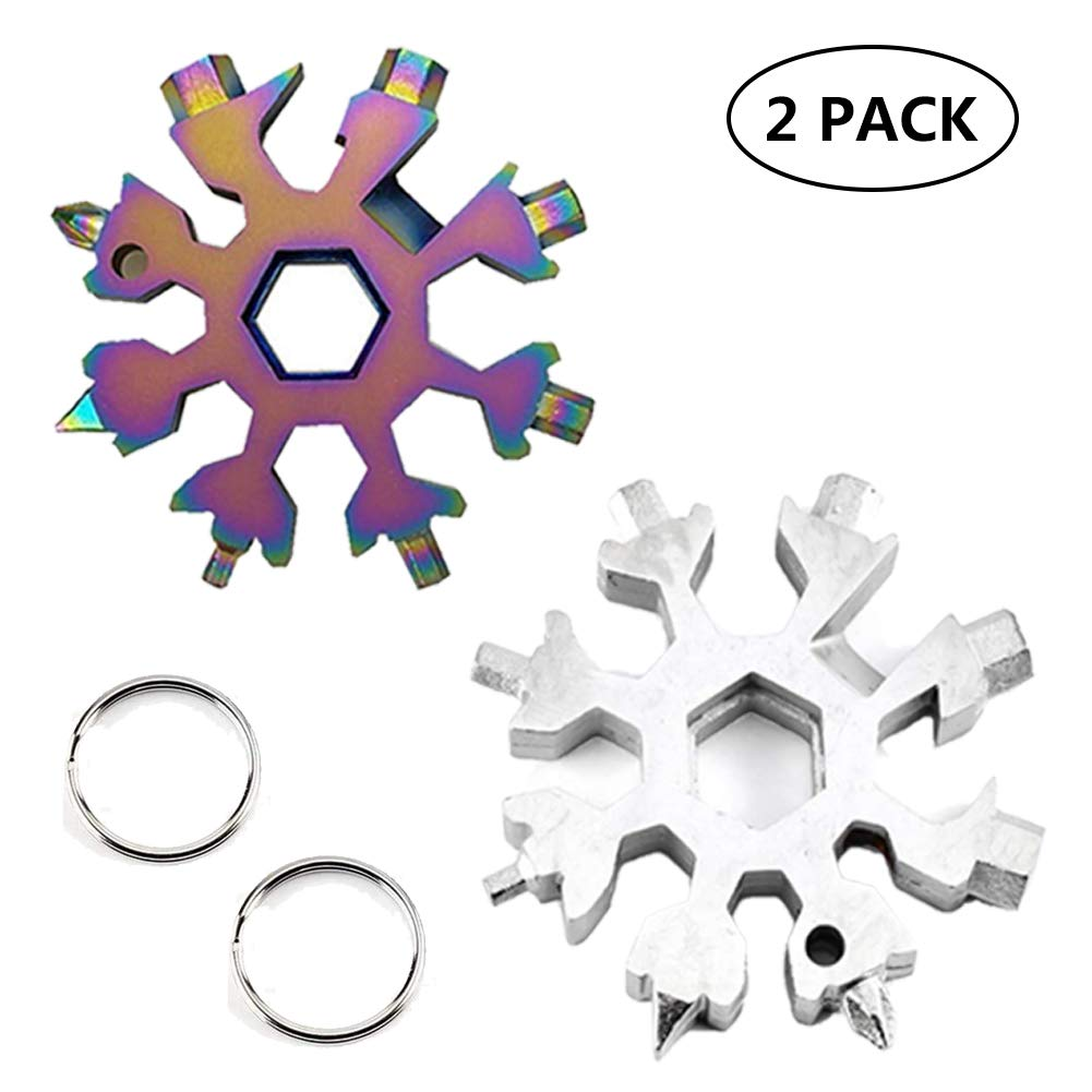 colorful 1pcs and white 1pcs Stainless Steel Snowflake MultiTool Incredible Portable 18in1 Keychain Screwdriver Bottle Opener Tool for Outdoor Camping (White 16pcs)