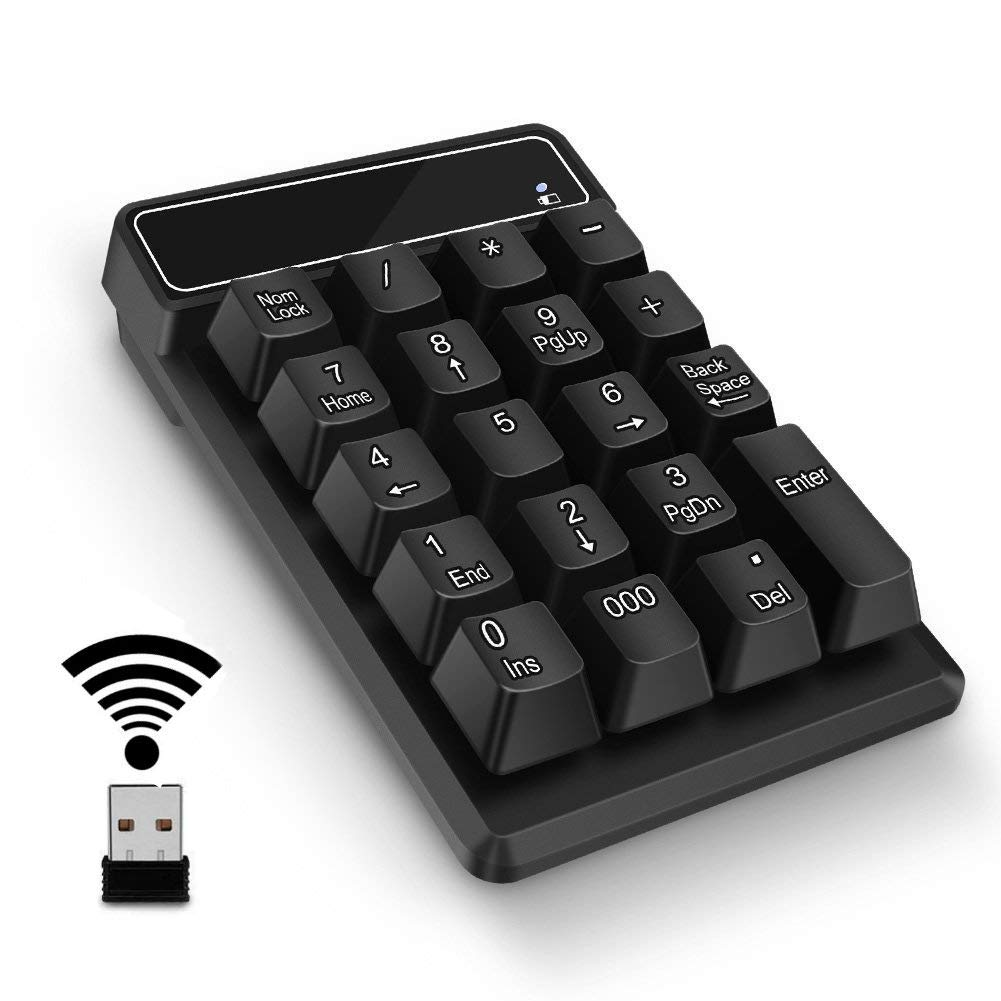 Number Pad,Portable Mini USB 2.4GHz 19-Key Financial Accounting Numeric Keypad Keyboard Extensions for Data Entry in Excel for Laptop, PC, Desktop, Surface pro, Notebook, etc (Wireless Number Pad) by SVZIOOG
