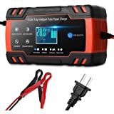 Car Battery Charger,12V/8A 24V/4A Compatible Automotive Smart Portable Battery Charger Maintainer/Pulse Repair Charger Pack f