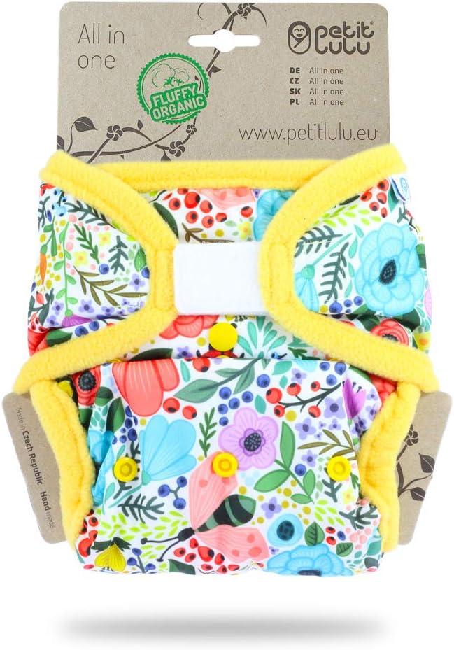 Petit Lulu Couche tout-en-un avec poche Bio moelleux AIO R/éutilisable et lavable Fermeture Auto-Agrippante Fabriqu/é en Europe