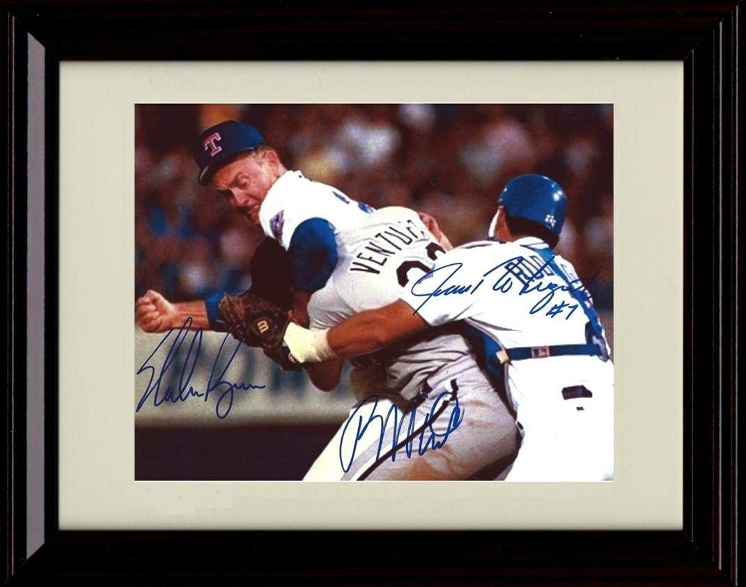 Framed Nolan Ryan and Robin Ventura - The Fight - Autograph Replica Print