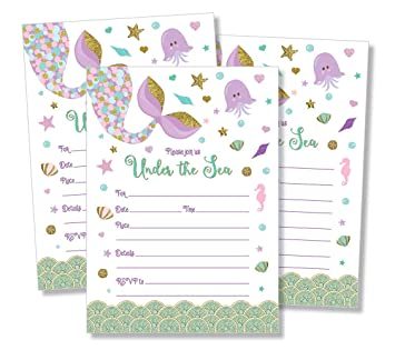 Amazon 25 Mermaid Invitations And Envelopes Large Size 5x7