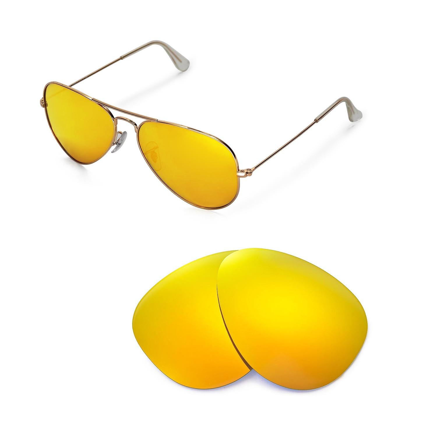 b19d3636c39 Amazon.com  Walleva Replacement Lenses for Ray-Ban Aviator Large Metal  RB3025 58mm Sunglasses - Multiple Options Available (24K Gold - Polarized)   Sports   ...