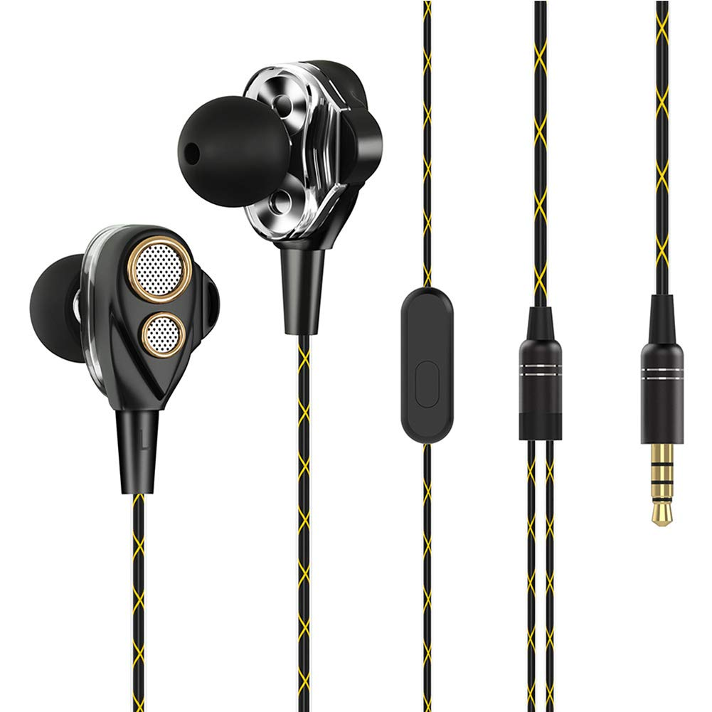 Kukakoo Earbuds/Earphones/Headphones, Noise Isolating Sport Earphones丨4 Speakers Dual Cores Coil in-Ear Wired Earphone Stereo Music Headset for iPhone iPod iPad Android/MP3 MP4 Black