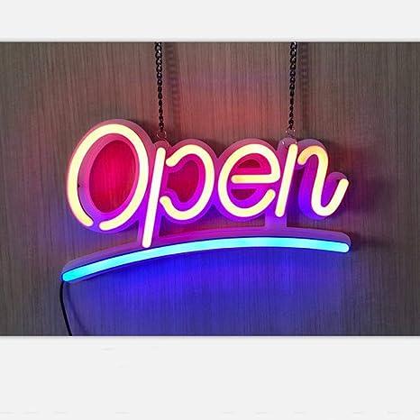 Letrero luminoso abierto, imitación de neón, luz de neón ...