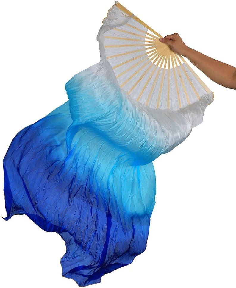 blue Teekit 1.8m Hand Made Colourful Belly Dance Bamboo Long Silk Fans Veils Dance Fan Small