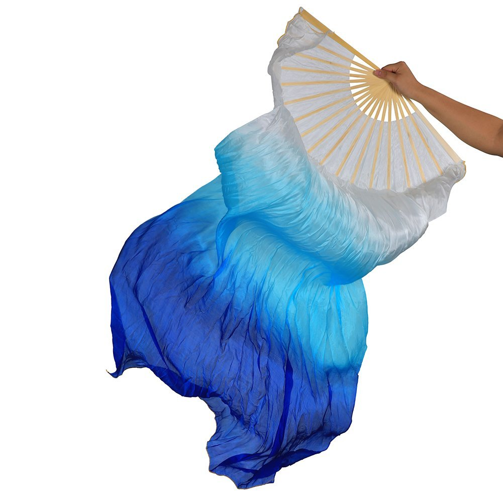 Dance Fairy Belly Dance Silk Fan Veils, Bright Vibrant Colors, 1.8m Long 1.8m Long Both hands White Lake Blue Royal Blue mixed