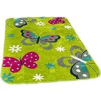 PHC Decke Kinderdecken Schmetterlinge Grün Rosa Butterfly Kuscheldecke Spieldecke, Grösse:155x215 cm
