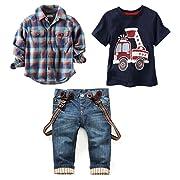 LUKYCILD Baby boy suit plaid shirts+car printing t-shirt+jeans 3pcs (5T, Blue)