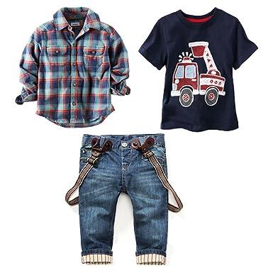 aba7a59a Amazon.com: LUKYCILD Baby boy Suit Plaid Shirts+car Printing t-Shirt+Jeans  3pcs: Clothing