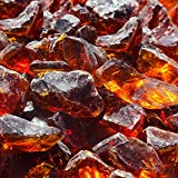 Blue Ridge Brand™ Amber Fire Glass - 20-Pound Professional Grade Fire Pit Glass - 1/2'' Glass Rocks Fire Pit Landscaping