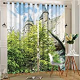 aolankaili Print Thermal Insulated Room Darkening Blackout Window Curtain Woods and Rocks View Replica in Japan Picture Blue and Beige for Bedroom(2 Panels, 84″ x 84″)