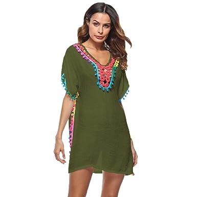 1e09a2bae09ec HARRYSTORE Tassel Chiffon Swim Bathing Suit Beachwear Cover Up, Womens  Loose Beachwear Swimwear Bikini Cover-up Beach Dress (Army Green): Amazon.co .uk: ...