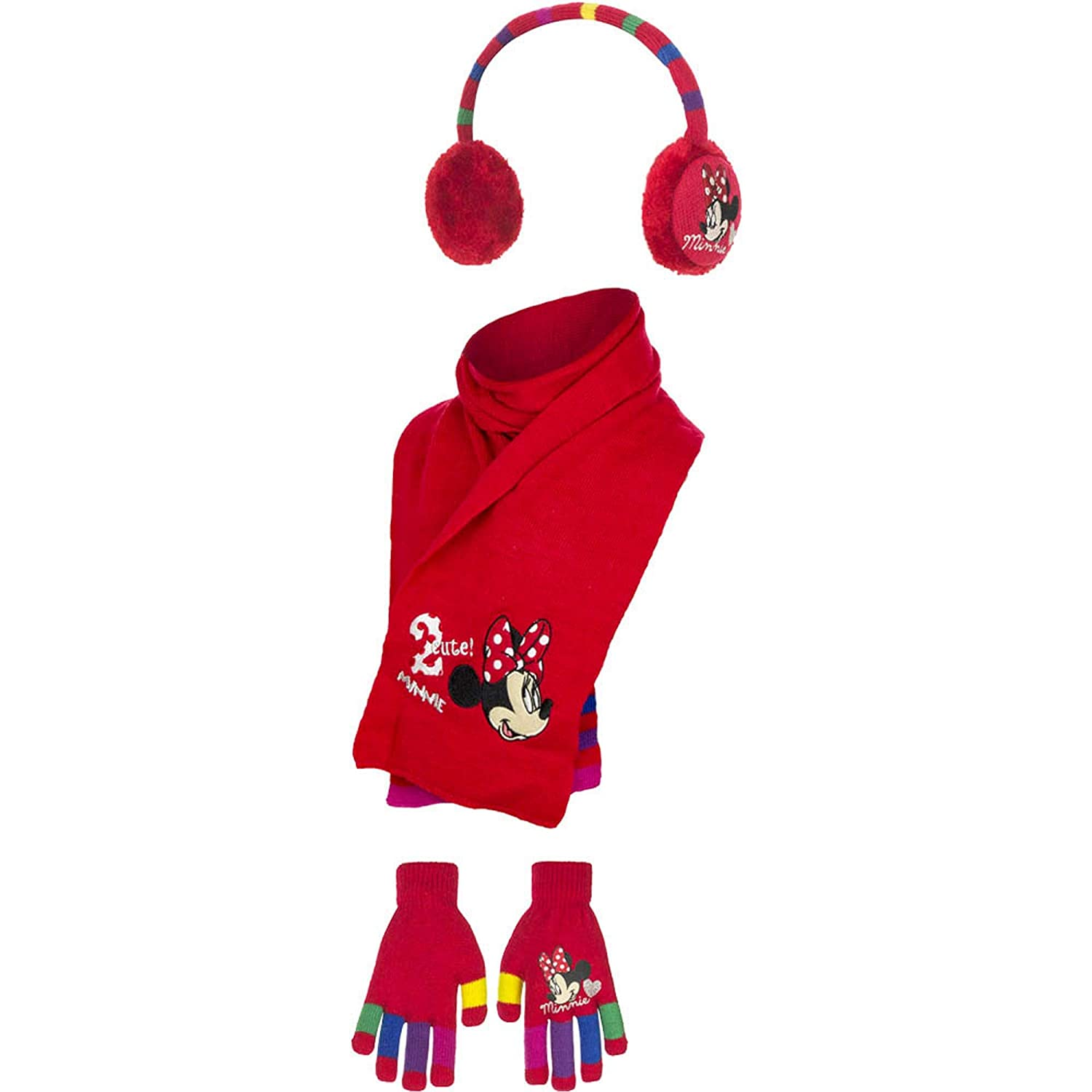 Disney Minnie Mouse Childrens Girls 2 Cute Winter Earwarmers, Scarf Gloves Set Scarf and Gloves Set (One Size) (Red) UTGL615_1