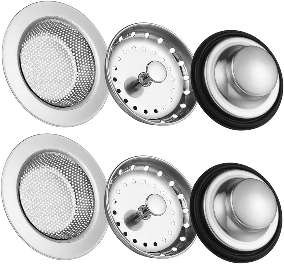 6 Pack of Kitchen Sink Stopper Strainer,Carry360 Anti-Clogging Stainless Steel Sink Disposal Stopper, Perforated Basket Drain Filter Sieve or Keep Water for Kitchen Sink Drain