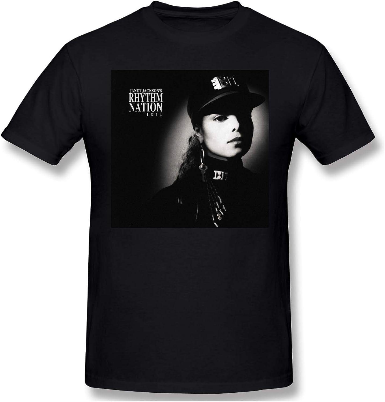 IUBBKI Camiseta básica de Manga Corta para Hombre Mens Print with Janet Jackson's Rhythm Nation 1814 Fashion Short Sleeve T-Shirt